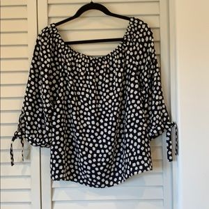 NWT J Crew Off Shoulder Top with Tie Sleeves